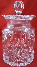Vintage ORNATE CARVED GLASS JAR Removable Lid Glassware Sunburst Pattern Neck
