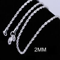 """Silver Plated anti-tarnish Rhodium Rope Necklace 2mm 16 through 30"""""""