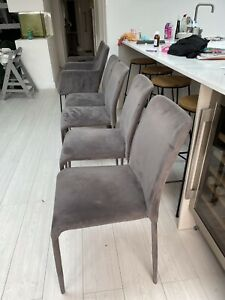Set of 6 Dwell Grey Velvet Dining Chairs - Great Condition