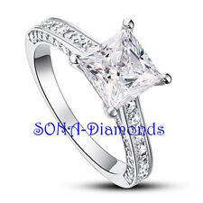 Deanna Princess Wedding Man Made SONA NSCD Diamonds SILVER 925 Engagement Ring