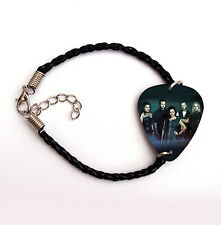EVANESCENCE guitar pick plectrum black LEATHER braid twist  BRACELET 7.5""