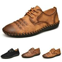 Mens Pumps Lace up Flats Breathable 47 Leisure Leather Driving Moccasins Shoes D