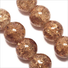 Lot de 20 Perles Craquelées en Verre 10mm Marron