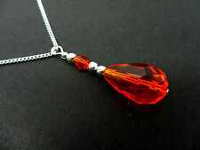 A PRETTY  RED   GLASS CRYSTAL TEARDROP NECKLACE. NEW.