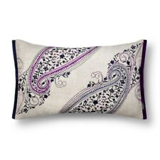"Bedeck Navy Blue Embroidered Ila Paisley Linen Decorative Throw Pillow, 20""x12"""