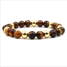 Fashion 8mm Natural Lava Stone Tiger Eye Beaded Men's Bracelets Jewellery Gift