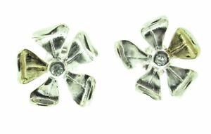 Silber Und Vergoldet Blütenblatt Ohrstecker