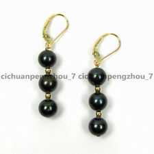 Lovely 6/8/10mm Black Shell Pearl Round Beaded Dangle Leverback Earrings AA