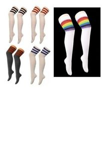 LADIES REFEREE STRIPED OVER THE KNEE HIGH THIGH REFEREE FOOTBALL LONG SOCKS