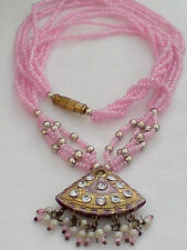 INDIAN AUTHENTIC PINK GLASS BEADED NECKLACEwithGOLD & DIAMONTE PENDANT  £8.99nwt