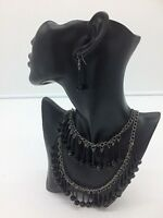Brand New Black Statement Chandalier Necklace And Earring Set