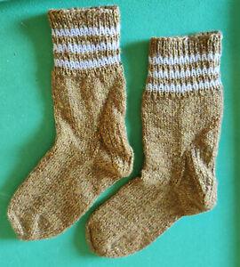 Handmade Knitted Socks Size 5 - 6 UK Adult Traditional Pattern Mustard New