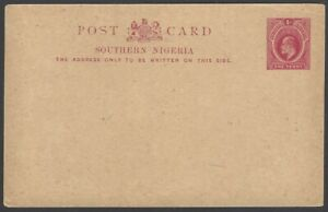 Southern Nigeria KEdVII 1d red postal card unused