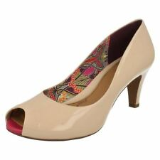 Clarks Peep Toe Patent Leather Casual Heels for Women