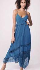 NEXT SIZE 14 Tall Stunning Teal Pleated Lace Maxi Midi Dress RRP £75 BNWT