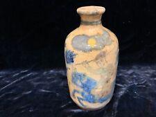 """Antique 18thC pre Qajar Persian pottery bottle vase warrior on horseback 6.25"""""""