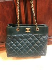 Authentic CHANEL 2017 Large Shopping Tote Bag Dark Green Leather- Original tags