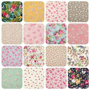 FLORAL COTTON FABRIC Rose & Hubble Vintage Roses Ditsy Flower POPLIN MATERIAL