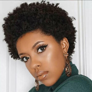 Afro Kinky Curly Wig Short Pixie Cut Wigs Human Hair Natural Color None Lace Wig