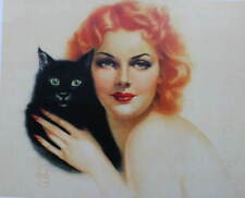Red Head with Black Cat by Alberto Vargas Halloween