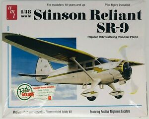 1937 Gullwing Stinson Reliant SR-9 1:48 Scale model plane with pilot Sealed AMT