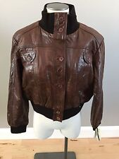 NWT Infinity Brown Bomer Leather Jacket- Womens 5XL