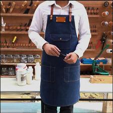 Denim Bib Apron Leather Strap Barber Barista Florist Chef Studio Uniforms Blue