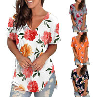 Women Summer Floral V Neck Short Sleeve T-Shirt Casual Loose Tunic Tops Blouse