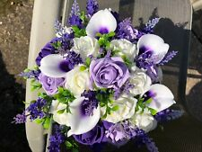 Wedding Flowers Large Bridesmaid Ivory,Purple,Lilac  Posy  Bouquet