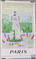 J. CAVAILLES AFFICHE ANCIENNE  1957 SNCF PARIS PLACE DE LA CONCORDE LITHOGRAPHIE
