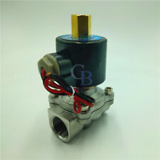 "AC 110V G1"" Stainless Steel 304 Electric Solenoid Valve Normally Open"