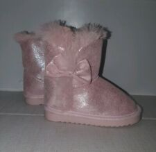 Pink Fur Lined Winter Girls Boots Shoes 7 UK 24 EU