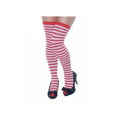 CHRISTMAS ADULT LADIES RED WHITE STRIPE STOCKING HOLD UPS CANDY LADIES WITCH