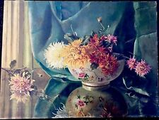 STILL LIFE FLOWERS In Bowl ANTIQUE OIL PAINTING  Beautiful