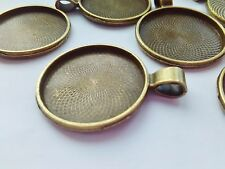 "5 Pendant Trays Blanks, Bronze Bezel fits 25mm (1"") Cabochon Settings Findings"