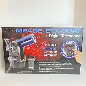 Meade ETX-60 AT Refractor Telescope. 9 Speed Motor Drive Auto Star - Never Used