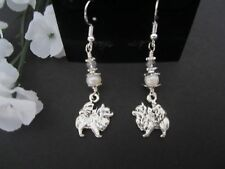 Pomeranian Dog Earrings with Freshwater Pearls & Swarovski Crystals