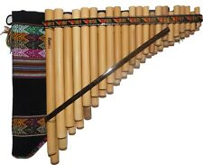 BAMBOO CHROMATIC PAN FLUTE  44 PIPES NATURAL BAMBOO  FROM PERU -CADE INCLUDED