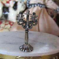 Miniature SILVER CANDLEHOLDER Dollhouse Candelabra Artisan Antique Artist Made