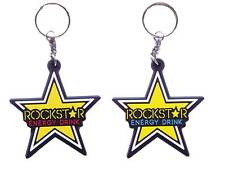 New 2 rubber Rockstar Energy Racing keychain/keyring. Collectible Gift