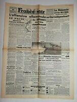 N703 La Une Du Journal France-soir 19 décembre 1944 l'offensive allemande