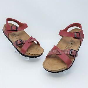 Birki's by Birkenstock Lille Red Linen White Womens Sandals Size 38 US L7 M5 Nar