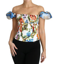 DOLCE & GABBANA Corset Top Blouse White Floral Cropped IT42 / US8 / M RRP $1260