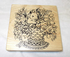 PSX K-1439 Easter basket rubber stamp Bunny rabbit baby chicks Tulips flowers