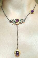 6ctw Amethyst Emerald lariat pendant drop 925 solid silver drop flower necklace