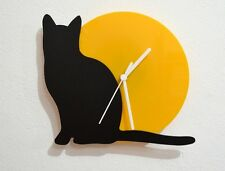 Cat - Black & Yellow Silhouette - Wall Clock