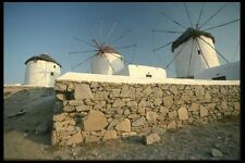118031 Stone Wall And White Washed Windmills A4 Photo Print