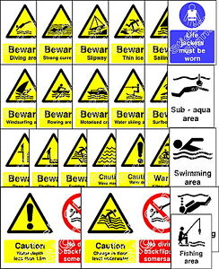 Water Safety - Warning swimming sailing canoeing yacthing stickers & signs