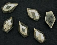 TWO 10.5x6.5 10.5mm x 6.5mm Kite Top Faceted Flat Bottom Cabochon Cab Gem Pyrite