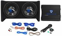 "Rockville RV8.2A 800 Watt Dual 8"" Car Subwoofer Enclosure+Mono Amplifier+Amp Kit"